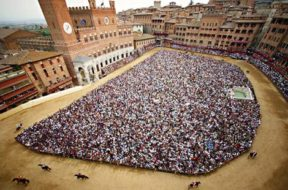 Sienese crush … a crowd in Piazza del Campo awaits the action.