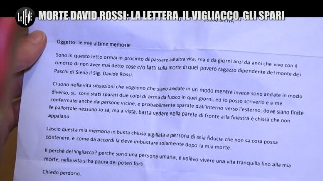 Ecco la lettera ricevuta dalla vedova di David Rossi