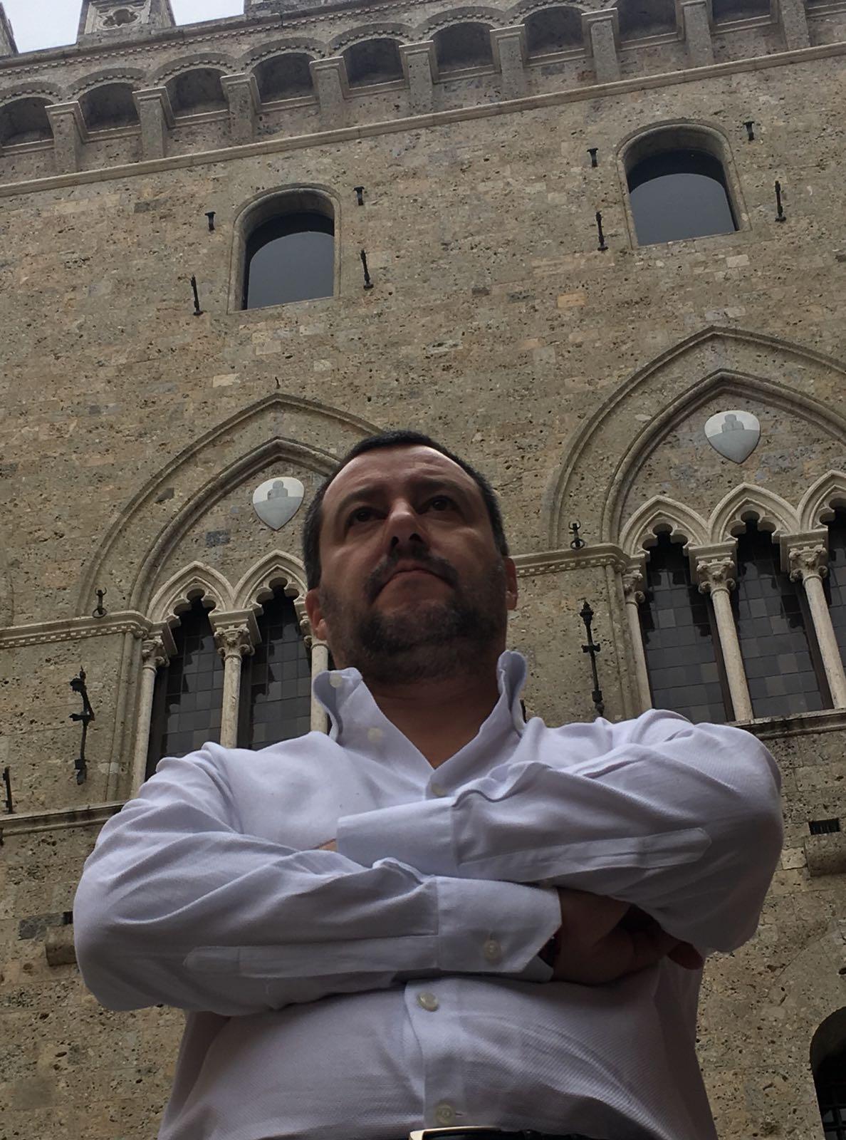"""Mps, Salvini: """"Il prossimo Governo dovrà salvare un patrimonio di Siena e di tutta Italia"""""""