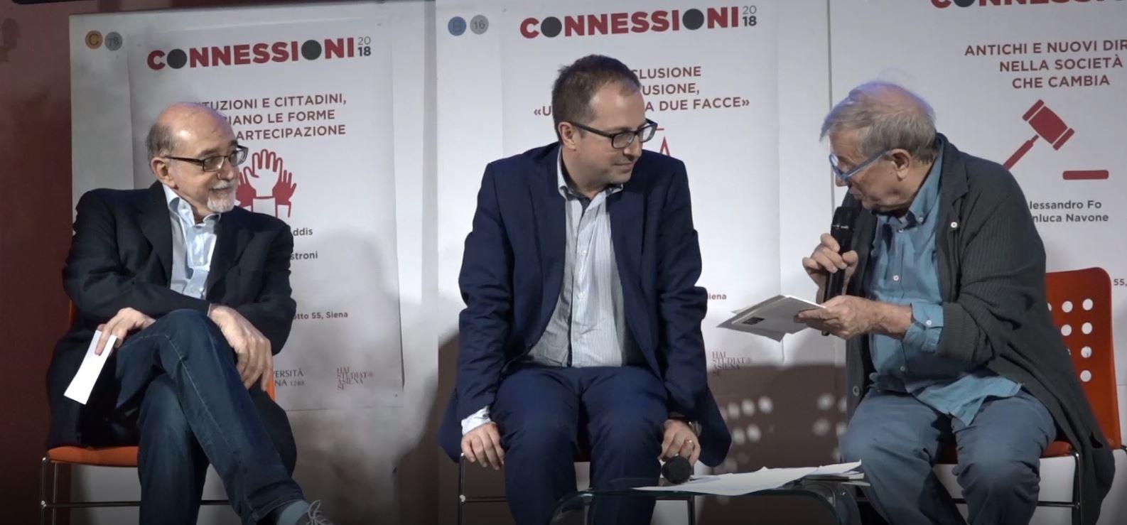 """Connessioni 2018: alle 21 su Siena Tv il primo dialogo """"Antichi e nuovi diritti nella società che cambia"""""""