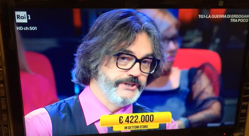 "Senese sfiora 422mila euro ai ""Soliti Ignoti"""