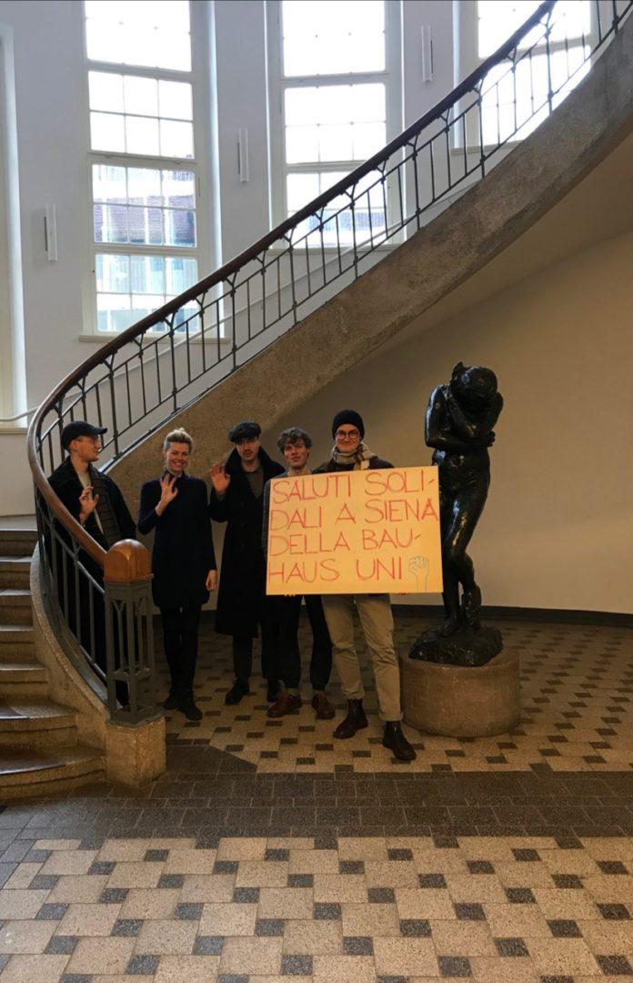 """Gli studenti dell'Università Bauhaus di Weimar sostengono Siena: """"Forza a tutti voi"""""""