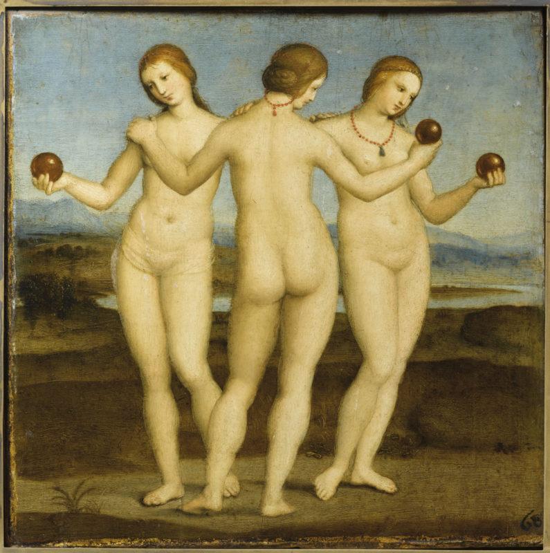 Le Tre Grazie, Raffaello Sanzio. Dipinto a olio su tavola, databile al 1503-1504 circa, conservato nel Museo Condé di Chantilly