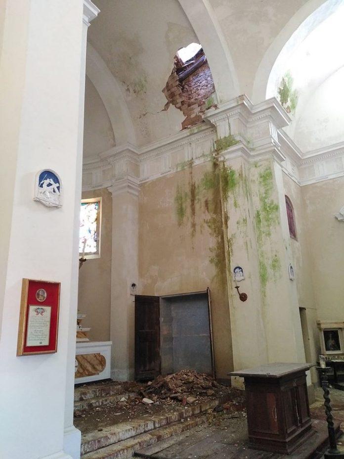Chiesa di San Bartolomeo ad Ancaiano, crolla il tetto della cupola