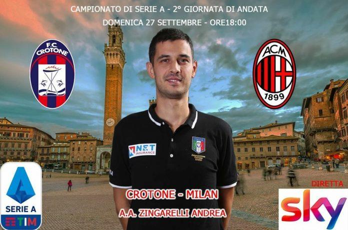 L'arbitro senese Andrea Zingarelli assistente nel match di Serie A Crotone-Milan