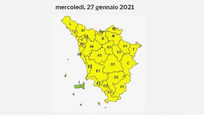 Ghiaccio, codice giallo in tutta la Toscana