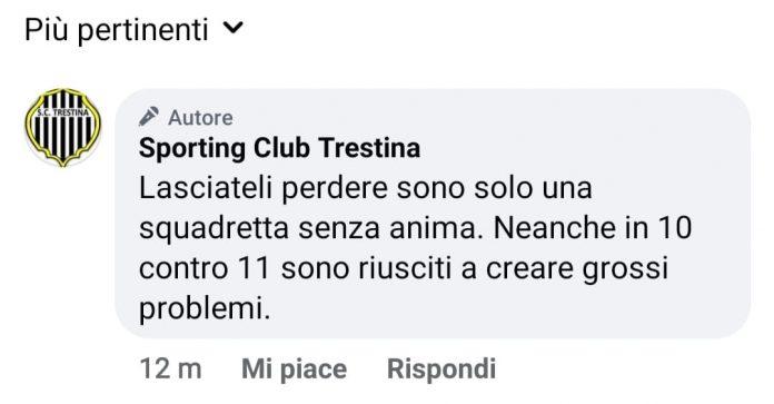 """Polemica social, il Trestina batte il Siena e lo irride: """"Siete una squadretta senza anima"""""""
