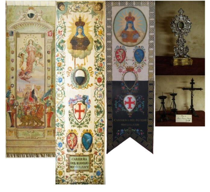 Contrada della Chiocciola: presentato il restauro di tre drappelloni e di un antico reliquario
