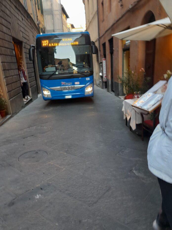 Via Camollia, il bus transita nonostante il divieto