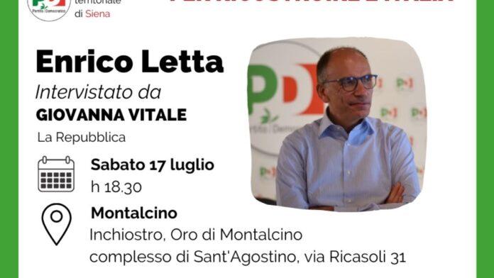 Suppletive, parte da Montalcino la campagna del candidato PD Enrico Letta